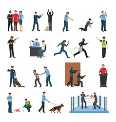 Police team training flat icons set vector