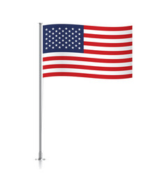 Usa flag waving on a metallic pole vector