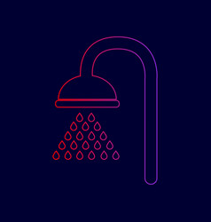Shower sign  line icon with gradient from vector