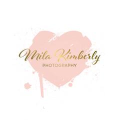 logotype heart from brush strokes grunge vector image