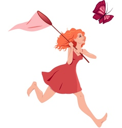 Girl chasing butterfly vector
