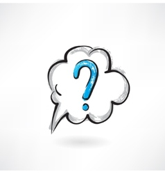 Question cloud grunge icon vector