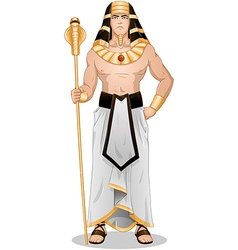 Egyptian pharaoh standing for passover vector