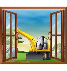 A bulldozer outside the window vector