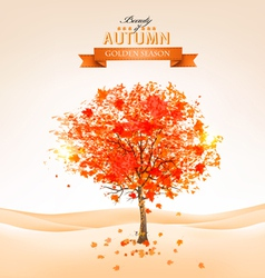 Autumn tree with orange leaves vector
