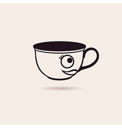 smiling cartoon cup tea or coffee funny icon vector image