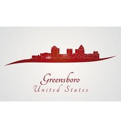 Greensboro skyline in red vector