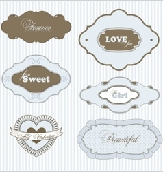 Set of six love frames vector