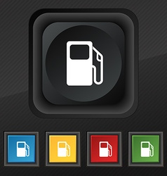 Auto gas station icon symbol set of five colorful vector