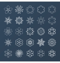 Set of white outline flowers vector