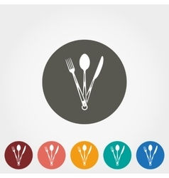 Tourist fork spoon and knife icon vector