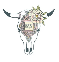 Cow Skull with ornament and peonies isolated on vector image