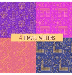 Travel seamless patterns set vector