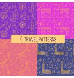 Travel Seamless Patterns Set vector image