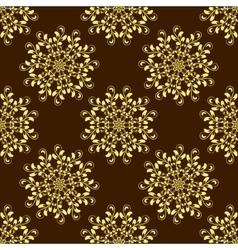 Gold Seamless Mandala Pattern over dark vector image