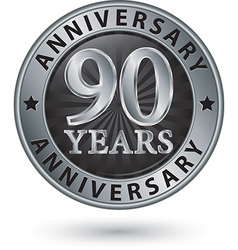90 years anniversary silver label vector