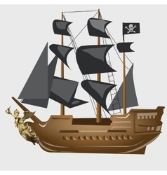 Ancient pirate ship with black sails and flag vector