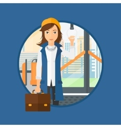 Woman traveling by public transport vector