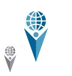 Abstract silhouette man logo holding globe human vector image