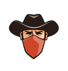 angry thug in mask cowboy robber bandit in hat vector image