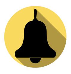 Bell alarm handbell sign flat black icon vector