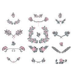 Big set of floral graphic design elements vector image