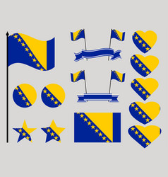bosnia and herzegovina flag set collection vector image