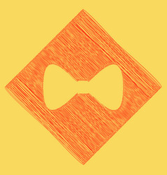 Bow tie icon red scribble icon obtained vector