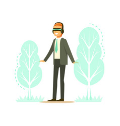 Businessman wearing vr headset with forest tree vector