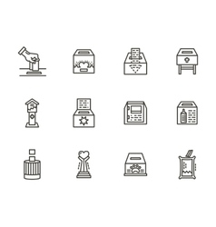 Charity elements black line icons set vector