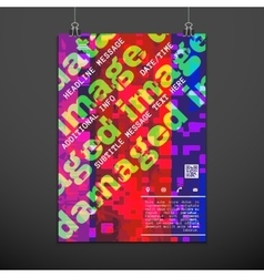 Colorful glitch design backdrop poster layout vector