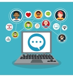 Computer and social network icon set vector