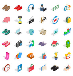 Contribution icons set isometric style vector