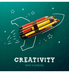Creativity learning Rocket ship launch with vector image