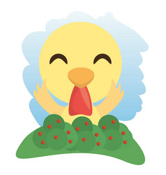 Cute rooster animal winking vector