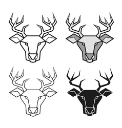 Deer geometric head set vector