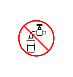 Do not drink water line icon prohibition sign vector