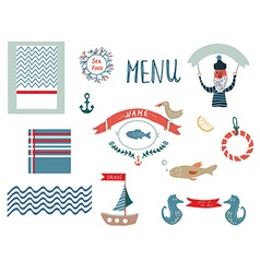 Fish restaurant menu design elements in funny vector
