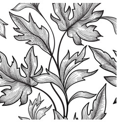 floral seamless pattern flower branch engraved vector image vector image