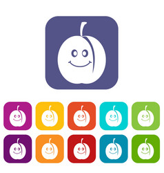 Fresh smiling apricot icons set flat vector