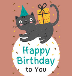 happy birthday card with black cat and gift vector image