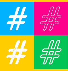 hashtag sign four styles of icon on vector image vector image
