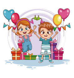 Kids jumping on birthday party vector