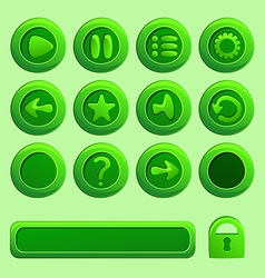 Mobile green elements for ui game - a set of play vector