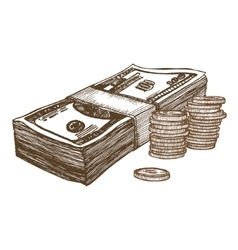 Money Hand Draw Sketch vector image vector image