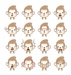 Monkey Emoticons set vector image vector image