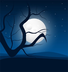 Moonlight and tree vector