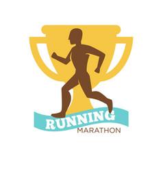 running marathon man on background of golden vector image