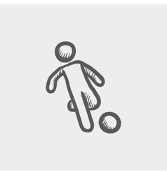 Soccer player to kick the ball sketch icon vector image vector image