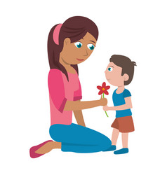 son give flower mother vector image vector image